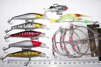 FISHING LURES for Trout, Bass, Cod, Salmon. Traces, PRAWN, PADDLE TAIL.  NEW.
