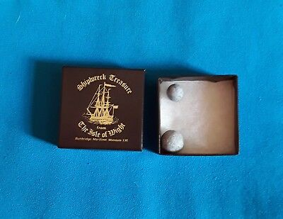 REDUCED!  Bembridge shipwreck museum box lead shot balls diving finds Isle Wight