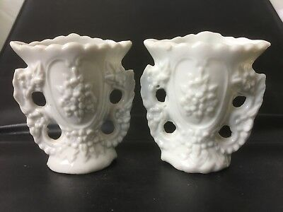 Vintage/Antique / china pair of small white Old vases
