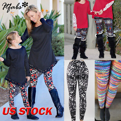 US Stock Fleece Lined Thick Nordic Leggings Winter Warm Insulated Christmas Pant
