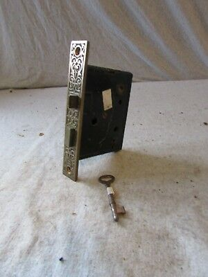 Antique Door Lock Brass Face Eastlake Victorian PF Corbin MFG w/ Key