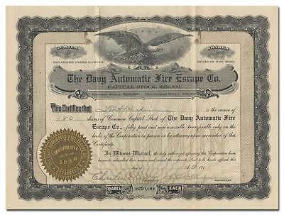 Davy Automatic Fire Escape Co. Stock Certificate (Syracuse, NY)