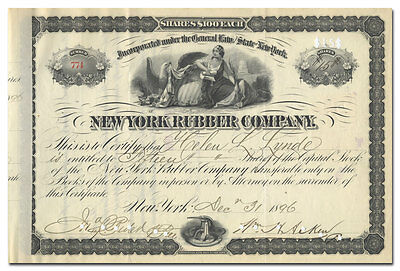 New York Rubber Company Stock Certificate (Made Country's First Rubber Balls)