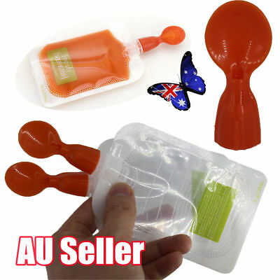AU Silicone Squeeze Soft Tip Baby Feeding Spoons for Reusable Food Pouch JO