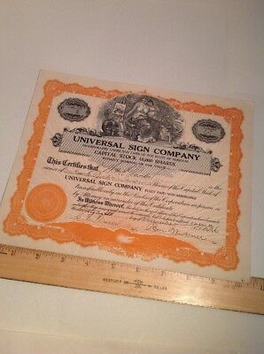 Vintage Stock Certificate Universal Sign Company