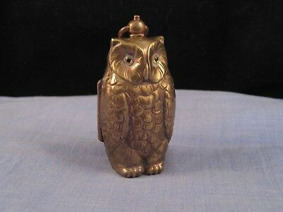 Rare Antique Victorian  Figural Owl Double Sovereign Case Coin Holder Money Box