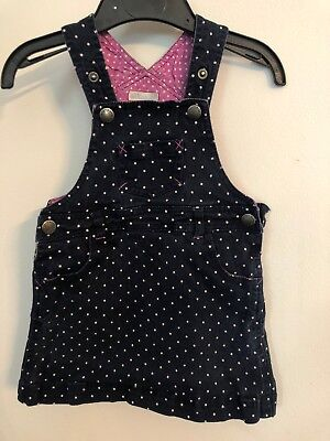 Jojo maman Bebe Pinafore Dress Navy With White Spots    - Size 18-24 Months