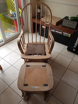 Wooden Nursery Glider Maternity Rocking Chair And Stool