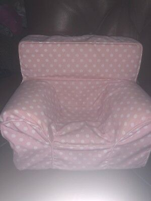 "POTTERY BARN KIDS PBK Pink Polka dot Anywhere Chair Fits 18"" American Girl Dolls"