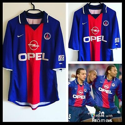 Vintage Psg Paris Saint Germain France 2000/2001 Home Football Shirt Nike Large