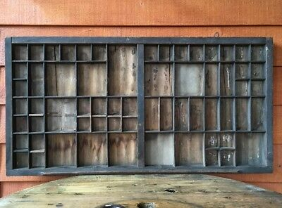 Antique Wooden Printer's Type Tray /Shadow Box
