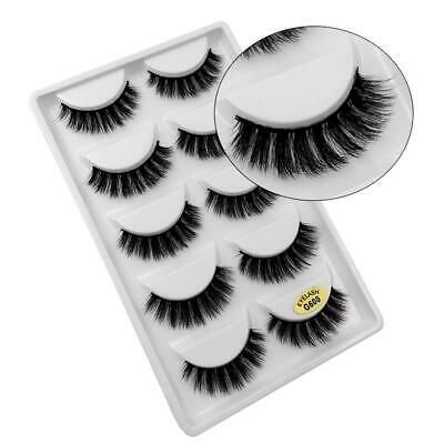 5 Pairs False Eyelashes Long Thick 3D Natural Fake Eye Lashes Set Mink Makeup UK