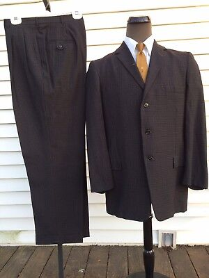Vintage 50s Wool Flannel Plaid Suit Damage 3 Button Drop Loop Atwood Curlee 40