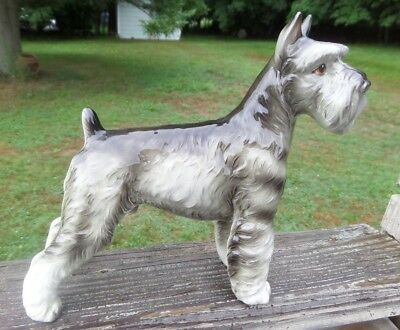 "Vintage SCHNAUZER Dog Ceramic Figurine 7.5""x9"" Japan"