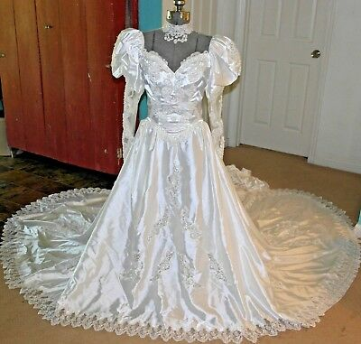 VTG 80s Wedding Dress Gown Victorian Puff Sleeves Satin Sheer Train Buttons Sz S
