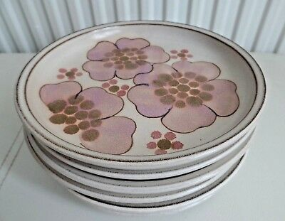 Six Denby Pottery Gypsy Pattern 6 5/8 Inch Bread & Butter Side Plates