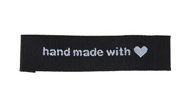 Black Fabric Labels Hand Made With Love Sew On Garment Clothing Tags 60x15mm
