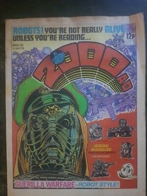 2000AD Programme 125 AUG 1979 Fair Condition, Top right hand corner has a fold