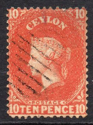 Ceylon 10 Pence Stamp c1863-66 Used SG58b? (crease) (1)