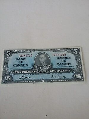 Bank Of Canada 5 Dollars Dated 1937