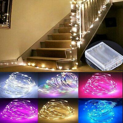 Micro Silver Wire Battery Fairy Rice LED Lights Waterproof DIY Indoor Xmas Decor