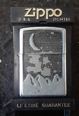 Vintage 2000 Chrome Full Pewter Emblem Marlboro Moon Over Mountain Zippo Lighter
