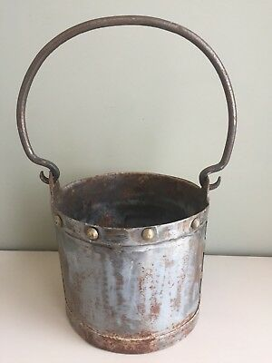 Antique French Rustic Metal Studded Pail Riveted Bucket Hand Forged Iron Handle