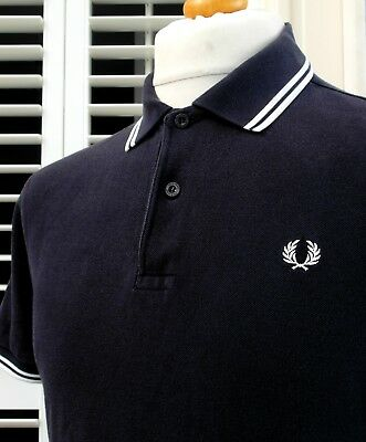 Fred Perry M1200 Navy Twin Tipped Pique Polo - M/L - Ska Mod Scooter Casuals