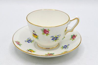 Vintage Crown Staffordshire Bone China Cup & Saucer - England - Floral Pattern