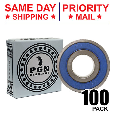 Lot of 100 PCS, 6203-2RS Rubber Sealed Ball Bearing, 17x40x12, Lubricated 6203RS
