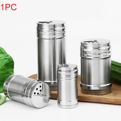 Stainless Steel Cruet Salt Pepper Seasoning Shaker Bottle With Rotating Cover