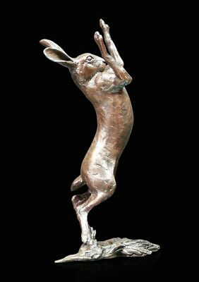 Medium Hare Boxing Solid Bronze Foundry Cast Sculpture by Michael Simpson (1012)