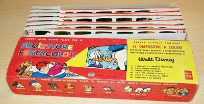Vintage WALT DISNEY Italian GIVE A SHOW PROJECTOR SLIDES x6 Boxed 1965