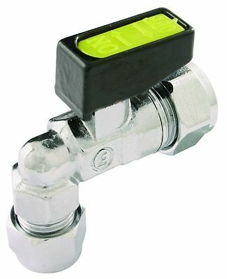 GAS 90º ELBOW ANGLED MINI LEVER BALL VALVE APPROVED COMPRESSION SIZES 8mm & 10mm