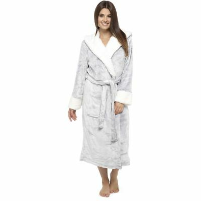 Womens/Ladies Super Soft Fleece Hooded Robe/Dressing Gown Grey Size 8-22