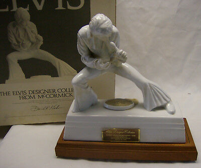 Elvis Designer Collection White Porcelain Decanter w/Music Box & Wood Base 1981