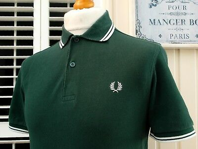 Fred Perry M1200 Hunter Green Twin Tipped Polo - S/M - Ska Mod Scooter Casuals