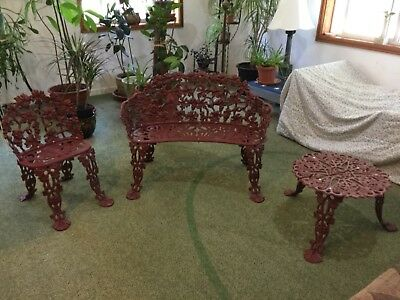 antique cast iron garden set- bench, chair, and table
