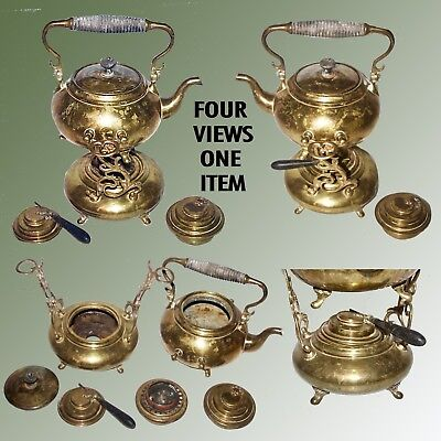 Vintage Brass Teapot On Brewing / Warming Brass Stand With 2 Different Burners