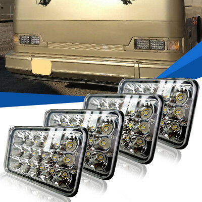4pcs 4''x6'' High/Low Sealed Beam LED Headlights For Freightliner Peterbilt