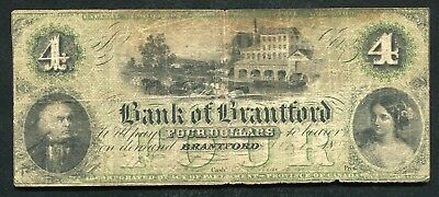 1859 $4 The Bank Of Brantford Ontario Canada Chartered #40-10-02-06