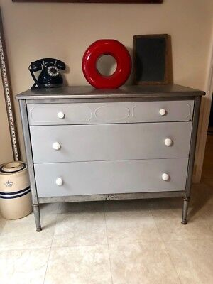 Vintage Simmons Brushed Metal Dresser With Lilac Drawer