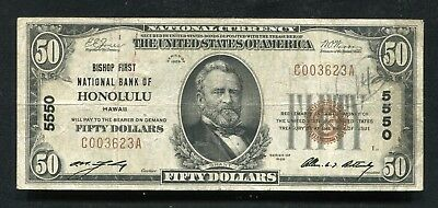 1929 $50 Bishop First National Bank Of Honolulu, Hi National Currency Ch. #5550