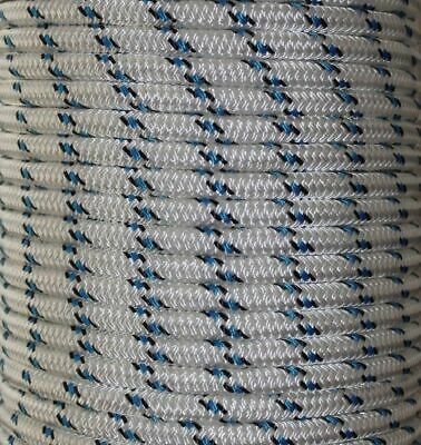 40m x 8mm Blue Black  Rope - Double Braid Polyester for Yacht Boat & Marine
