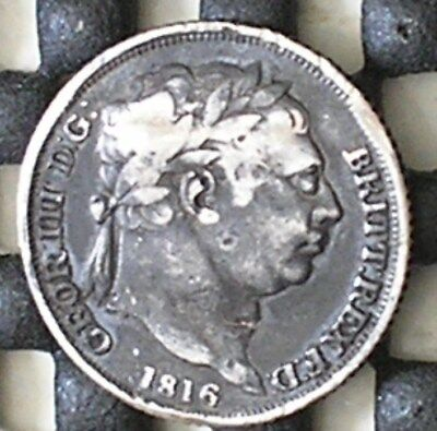 1816 King George 111 British Silver Sixpence Coin