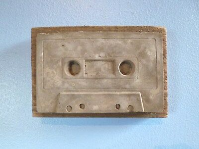 Concrete Cassette Tape Mounted On Wood, Artist's Initials & Date On Back