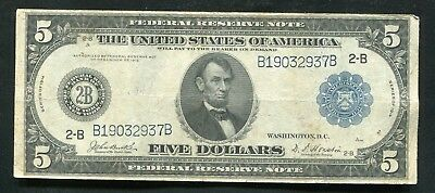 Fr. 850 1914 $5 Five Dollars Frn Federal Reserve Note New York, Ny Very Fine+