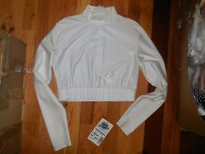 NWT Body Wrappers Mock T-neck LONG SLEEVE Crop Top White Large Adult Smudged