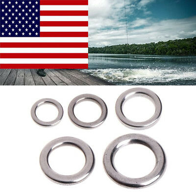 50Pcs Fishing Solid Stainless Steel Split Ring Lure Tackle Tool Connector USA