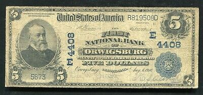 1902 $5 The First National Bank Of Orwigsburg, Pa National Currency Ch. #4408